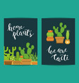 card template with lettering home plants vector image vector image