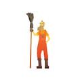cartoon hipster street sweeper in orange uniform vector image