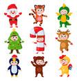 cartoon kids wearing christmas costumes kids vector image vector image