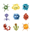 cartoon ugly viruses characters monster vector image vector image