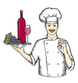 Chef with a tray of wine and grapes vector image vector image