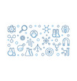 chemical physics outline blue horizontal vector image