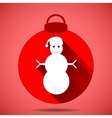 Christmas icon with the silhouette of a snowman in vector image vector image