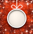 Christmas paper ball on red background vector image vector image