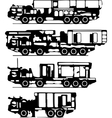 classification of trucks silhouettes vector image vector image