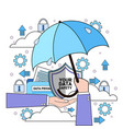 data safety cloud shield hand hold umbrella over vector image vector image