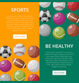 design of web page about sports vector image vector image