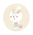 easter bunny with egg and basket vector image vector image