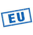 eu blue square grunge stamp on white vector image vector image