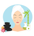 Flat design of a woman with towel in spa vector image vector image