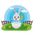 happy easter cute rabbit vector image