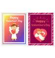 happy valentines day celebration cards with angel vector image vector image