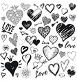 heart icon set hand drawn doodle sketch style vector image