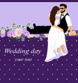 invitation card with bride and groom in vector image vector image