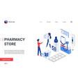 isometric pharmacy store concept cartoon landing vector image