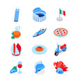italian symbols - modern colorful isometric icons vector image