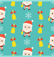 jingle bell santa christmas seamless pattern vector image vector image