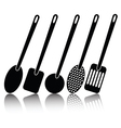 kitchen utensil silhouettes vector image
