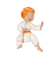 Little boy wearing kimono practicing karate vector image vector image