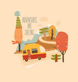 little trailer driving on mountain road vector image