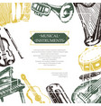 musical instruments - color hand drawn postcard vector image vector image