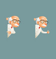 old wise scientist character look out corner icons vector image vector image