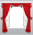 open white double window with classic red blinds vector image