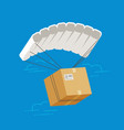 parachute with cardboard box delivery service vector image vector image