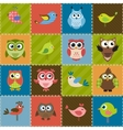 Patchwork background with birds and owls vector image vector image