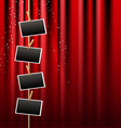 photo frame and red curtain vector image vector image