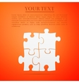 Puzzles flat icon on orange background Adobe vector image vector image