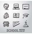 School education freehand icons set vector image