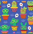 seamless pattern with cheerful cactus in glasses vector image