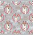 seamless pattern with cute deer and gift vector image vector image