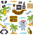 seamless pattern with pirates animals vector image