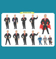 set businessman presenting in various action vector image