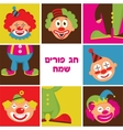 set of colorful clown heads vector image vector image