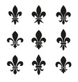 set of emblems fleur de lys symbols vector image