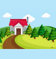 simple house in rural scene vector image vector image