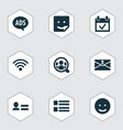 social icons set with wi-fi people advert and vector image vector image