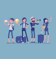 travelers group with luggage vector image