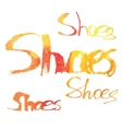 Watercolor lettering Shoes vector image vector image