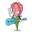 with guitar crocus flower mascot cartoon vector image vector image