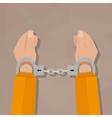 human hands in handcuffs vector image