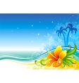 Sea background with hibiscus and palms vector image