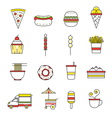 Fast Food Line with Color Icons Set vector image