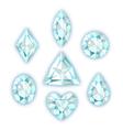 Set of diamonds isolated on white vector image