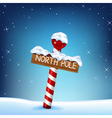 A Christmas of a north pole wooden si