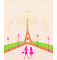 beautiful girls Shopping in Paris vector image vector image