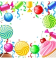 Birthday background with sweets vector image